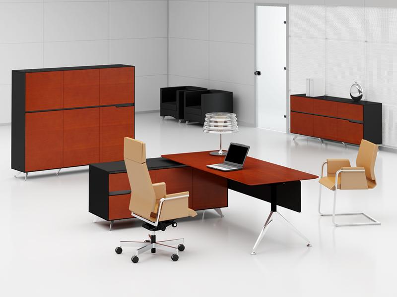 Büromöbel Livorno XL Kirsche links: Schreibtisch mit Aktenschrank