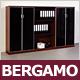 """Sideboard """"Bergamo"""", Nussbaum, Glastüren, Schwarzglas"""