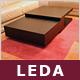 """Designer-Loungetisch """"Leda"""", Eiche, Couchtisch mit Schubladen"""