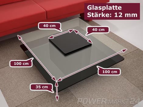 """Designer Couchtisch """"Kleone"""" Hochglanz Schwarz, Lounge Tisch mit Klarglas Glasplatte"""